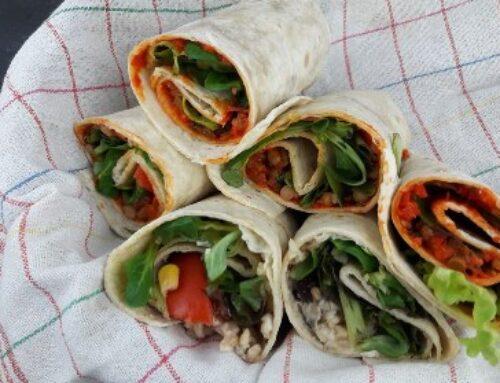 Zwei vegane Wraps