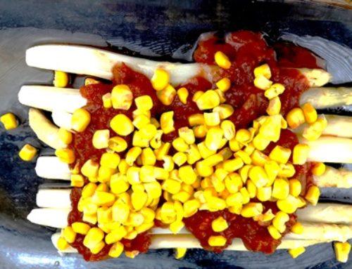 Spargel mit Perustia Salsa und Zuckermais- fettfrei
