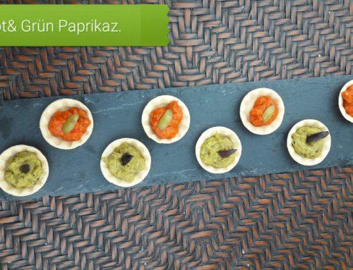 N4U food Party Cups mit grünen und roten Ajvar- Paprikazubereitungspaste